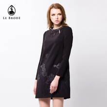 women fashion design black long sleeve leather embroidery dress