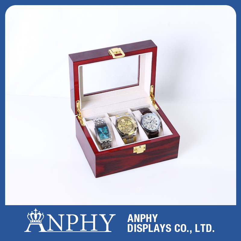 AN1004 ANPHY Red Color 3 Slots Wood Watch Storage Box Display Case