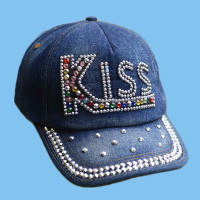 custom design Embroidery denim cap diamond-encrusted fashion baseball cap