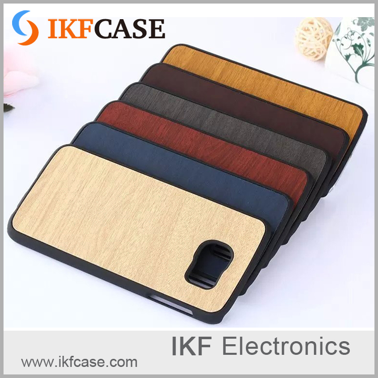 Shockproof PC luxury wood grain leather skin mobile phone case for Samsung S6