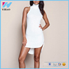 New popular design lady clothing Ivory Plush Ribbed Knit Curved Sides bodycon dress European and American fashion white dress