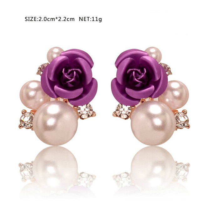 Wholesale hot Amazon New fashion rose flower purple gold plated stud earrings <strong>jewelry</strong> for womens 2016 beautiful pearl earring