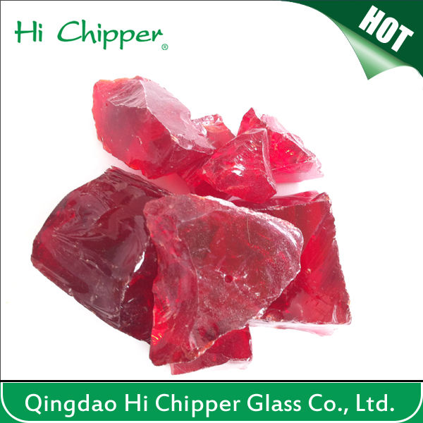 Red colored decorative large glass rocks for garden landscaping