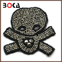 beaded skull felt patch skull beaded applique rhinestone skull motif