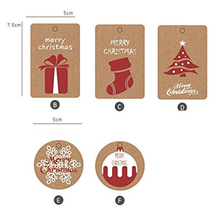 Unique design Christmas custom kraft paper hang tags luxury with green & red jute string for gift wrap