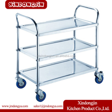 PRC-M3 0.8mm thickness stainless steel hand food serving trolley cart