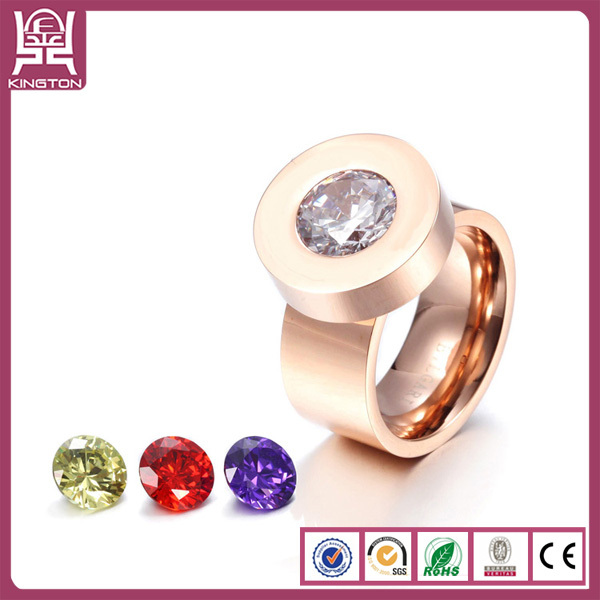 Mood ring change colour stone ring 316l stainless steel ring