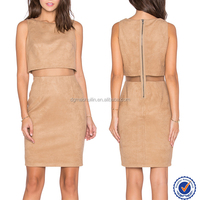 Fake two piece fall one suit design dress camel autumn winter korean women casual dress