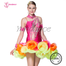 Lovely shiny salsa dance performance dresses L-10212