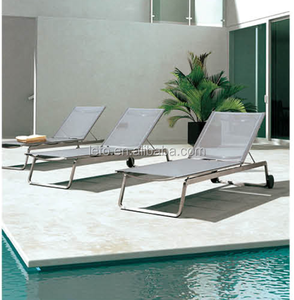 Cheap outdoor beach Sun lounger with stainless steel frame