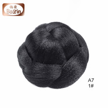Qingdao Bolin Hair Jessica Simpson Hairdo Braided Chignon Clip In Bun Hair Dark Brown