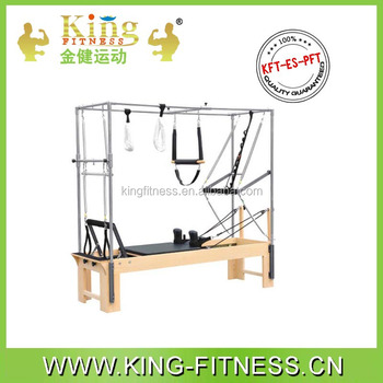 A+ Germanic beech and stainless steel pilates reformer with full trapeze