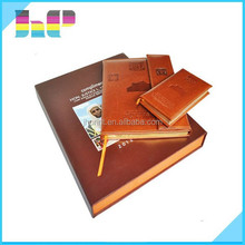 High Quality Embossing Leather Hardcover Book With Book Case Printing