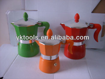 Colored aluminum coffee maker coffee pot moka KPC-SNB