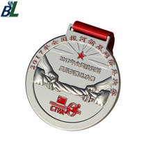 Personalized Nickel Plating Tug of War Sports Metal medal with Ribbon