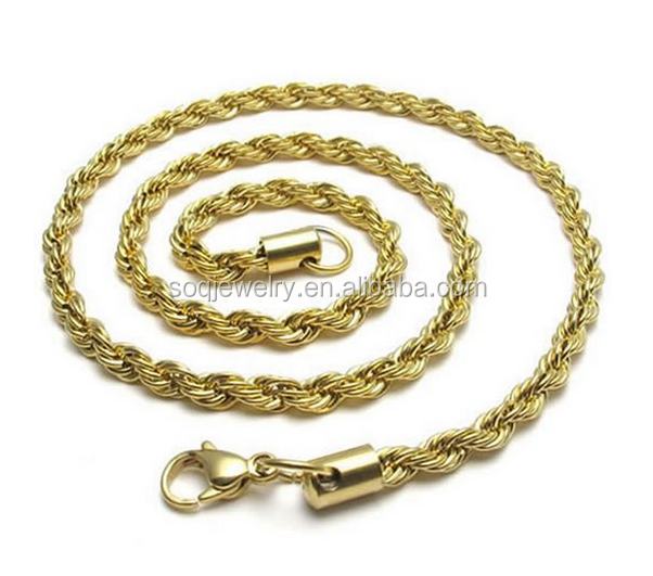 Stainless Steel 18K Rope Models of Gold Chains for Pendants