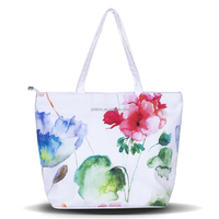 100% Cotton Summer Style Chinese Ink Painting Women Handbag Floral Beach Bag
