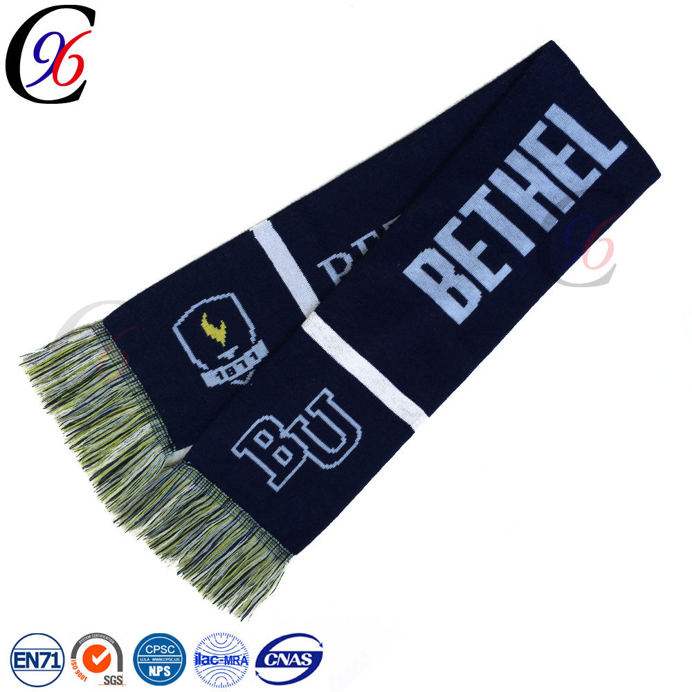 Chengxing custom online high quality soft soccer fan woven label crochet printed pattern south africa knitted football scarf