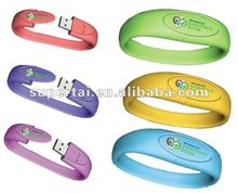 a leather Logo printing Silicon Bracelet USB