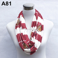 Factory Supply red Rugby printed jersey infinity scarf A81