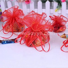 Wholesale factory pouch cheap red wedding pure color candy gift drawstring round organza bags