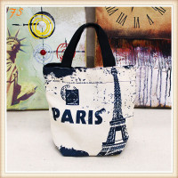 Cotton paris printing leather handbag