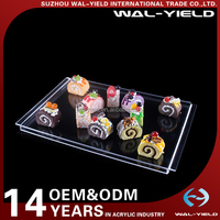 OEM Hotel High transparent Acrylic cup cake sevring display stand for afternoon tea