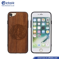 NEW coming Guangzhou factory cellular Mobile phone hard strong PC wood case for iphone 8 case with black TPU frame