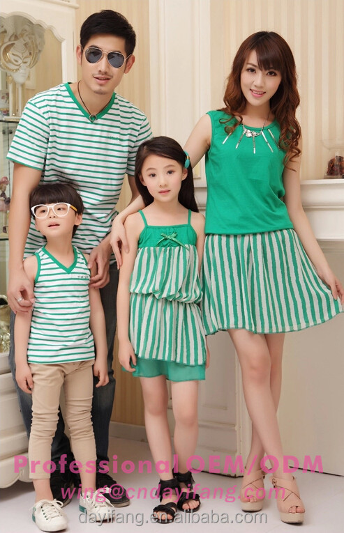 fashion green stripes pattern t shirt and dress family sets latest family of four summer wear