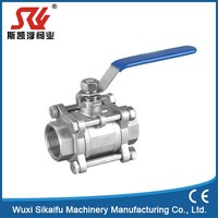 Superior quality staibless steel with long stem 3 pc female ball valve