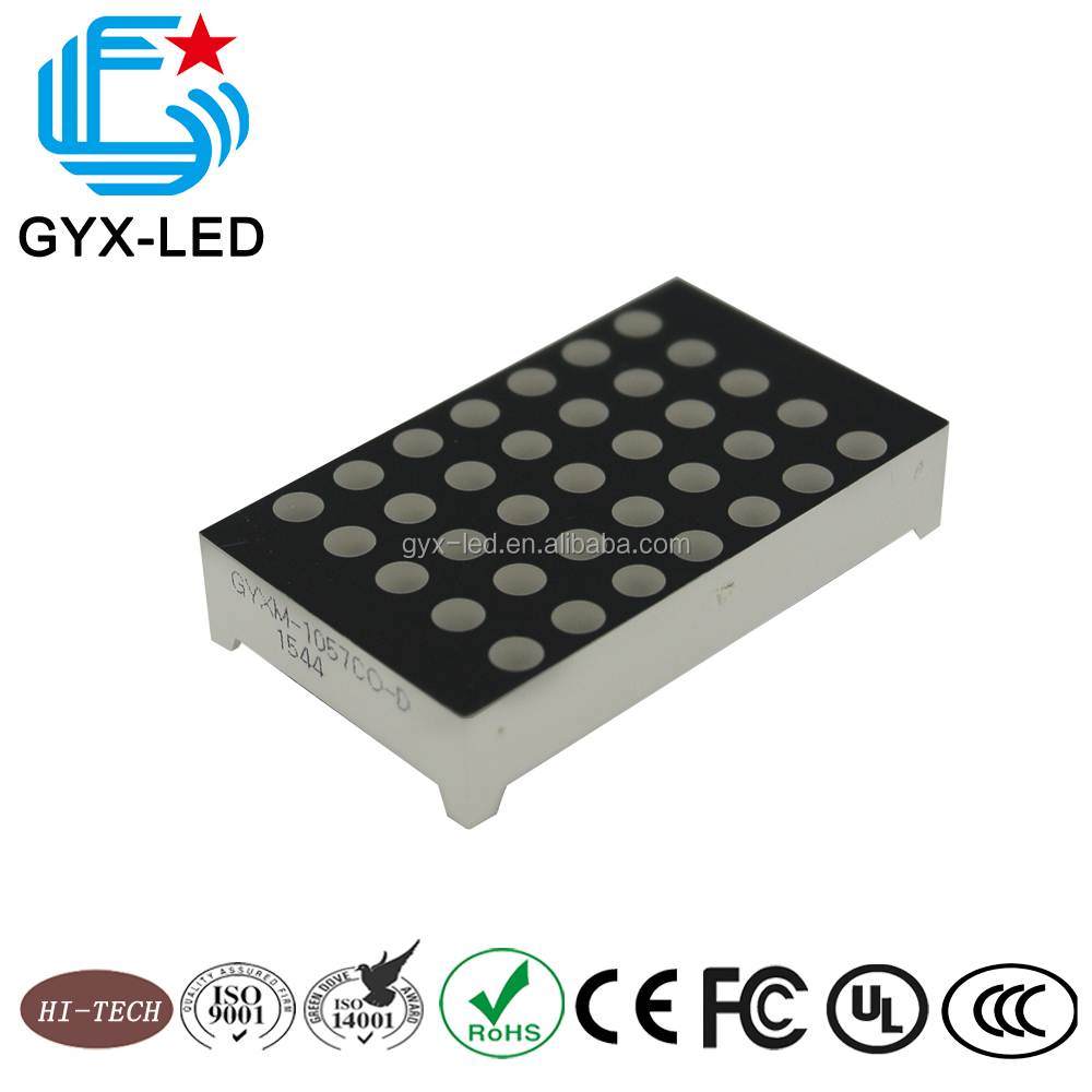 Wholesale red and pure green bi color 3 mm diameter dot 5*7 array 4.6 mm pitch 1.0 inch 43*26 mm mini LED display component