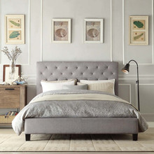Fabric upholstered bed with louis tufted headboard in home furniture XYN1709