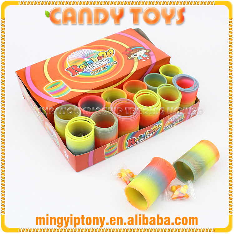 Hot selling plastic toy rainbow rings for candy with low price