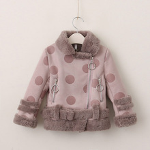 New arrival children clothing girls winter coat with fur Kids winter coat long sleeve fashion girls coat