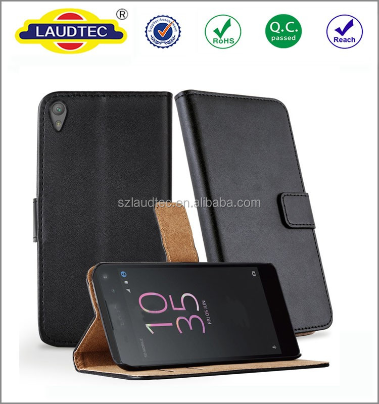 2016 New Design Mobile flip Stand Wallet Cover Case For Sony Xperia E5 Leather Case