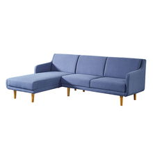 Cheap living room furniture wooden sofa legs blue l shape sofa sets