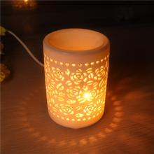 Wholesale handmade ceramic electric oil burner wax warmer with beautiful flower design
