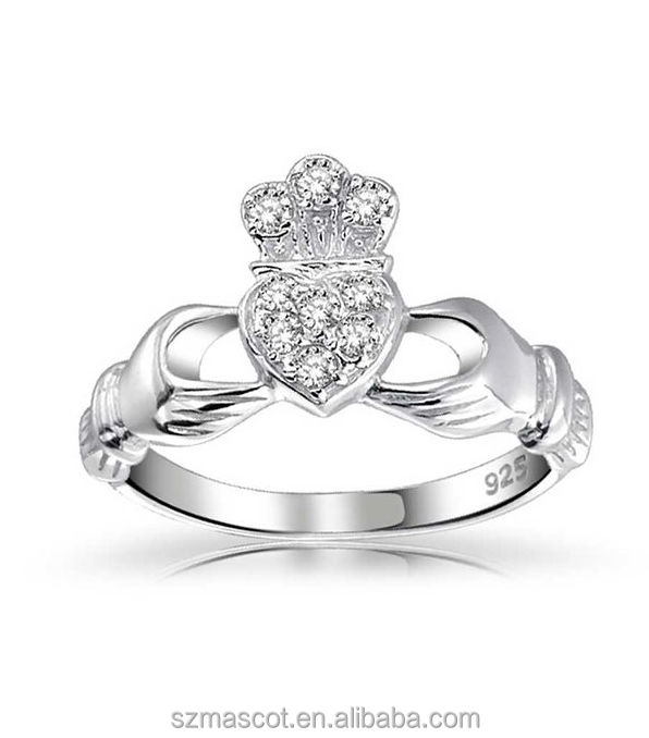 Friendship Love & Loyalty Wedding Sterling Silver Irish Claddagh aaaaa cubic zirconia rings