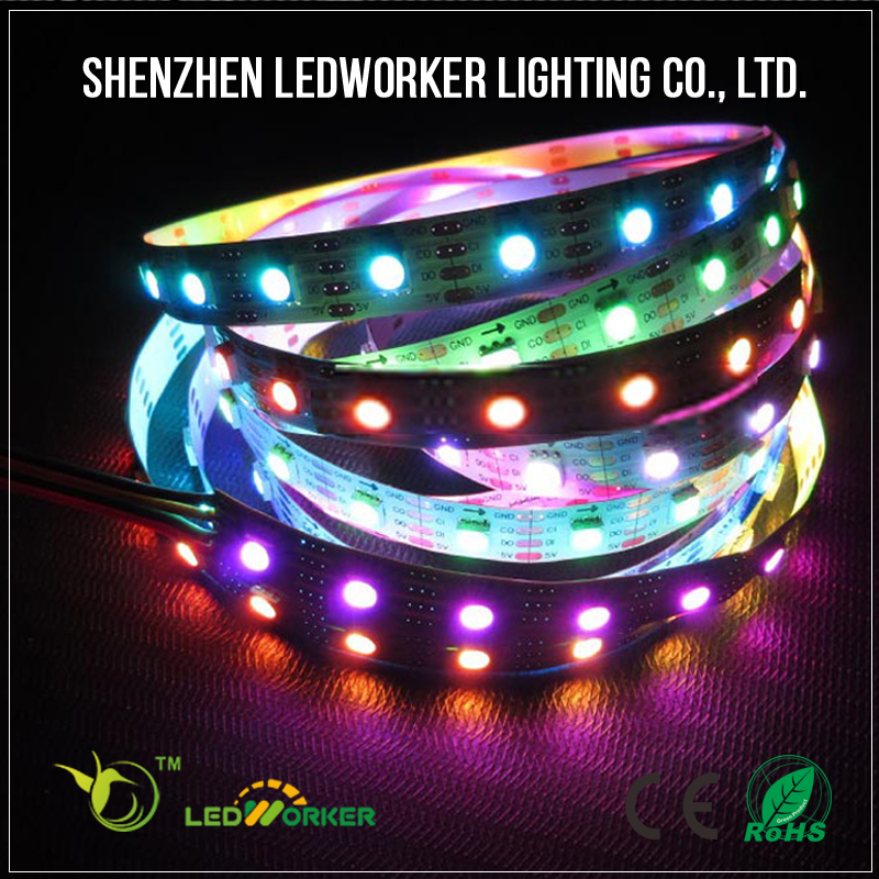 Shenzhen factory DC 5v addressable 5050 RGB apa102 144 led pixel strip