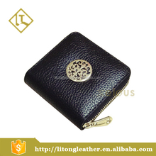 Black men's Genuine Leather Coin Purse Mini Wallet with metal logo