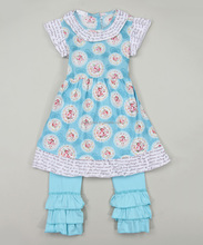 Low Price Aqua Angel-Sleeve Dress Ruffle Pants Infant 2pcs Set Baby Girl Fancy Suit Z-CS80726-(35)