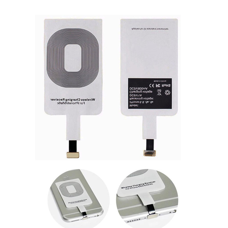 China Factory Promotion usb type-c qi wireless charging sticker receiver for Samsung s7 note s8 iPhone 5c, 5S, 6 Plus 7