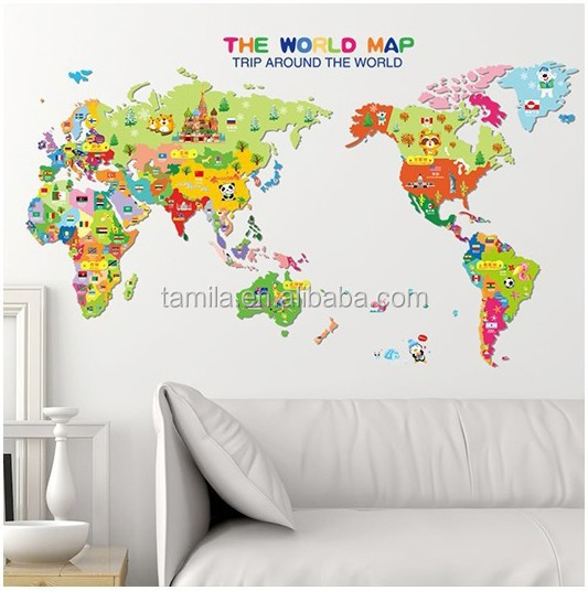 Creative removable living room classroom company world map sticker