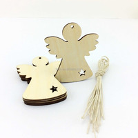 Wooden engrave christmas tree ornaments wooden angel wings