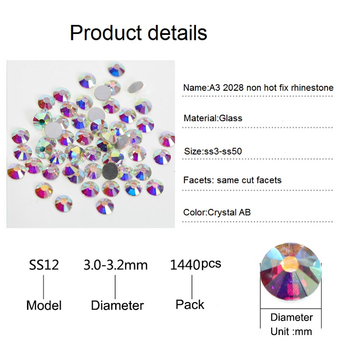 OLeeya Factory Hot Sale 2028 Non Hotfix Boutique Blue Glass Flatback Nail Art Rhinestones For DIY Nails Decoration