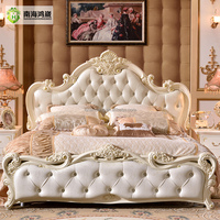 Antique Rococo European Baroque Bed Wedding Hand Carved Wooden French Bedroom furniture