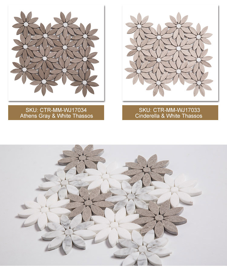 Mosaic Tile Flower Shaped Collection Marble Water Jet Mosaic