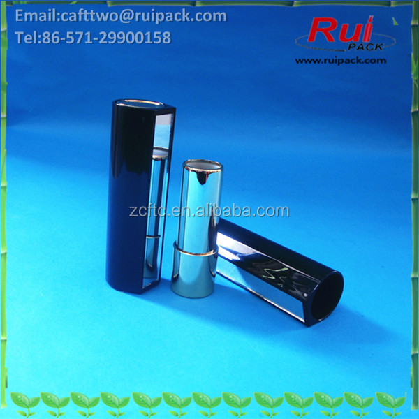 Black round lipstick tube with mirror, metal shiny gold lip balm tube with big cover