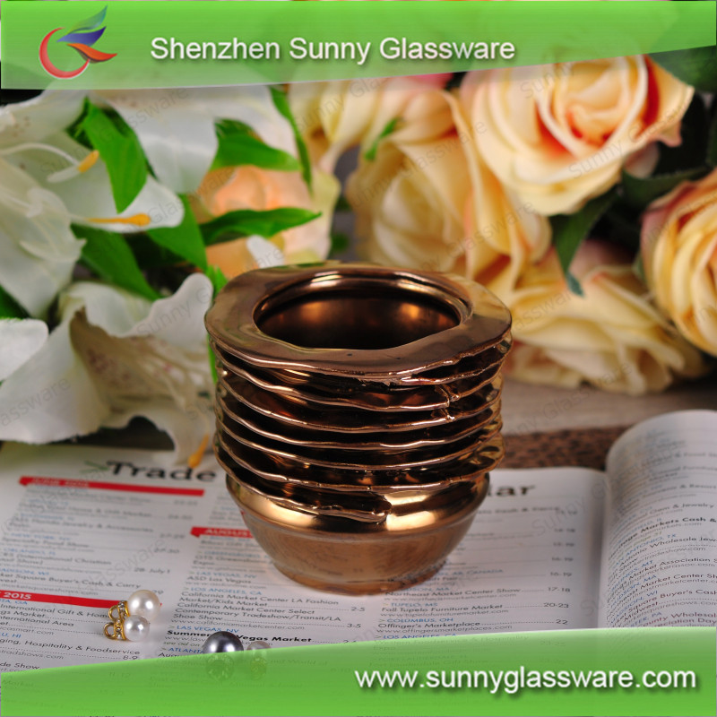 8oz Hand Made Laminated Copper Electroplating Ceramic Candle Container