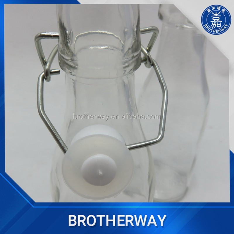 hot-sell mini empty glass milk bottle with swing top